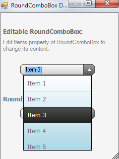 RoundComboBox screen