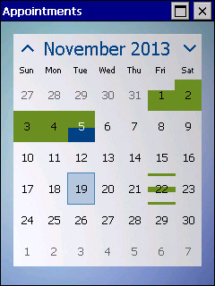 MonthCalendar screen