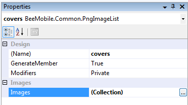 Property grid of PngImageList - Images colelction