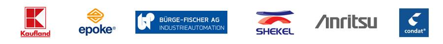 Our customers Lehrstuhl f�r F�rdertechnik Materialfluss Logistik, Epoke, Burge-Fischer AG, Shekel, Anritsu, Condat.